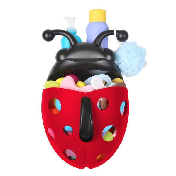Boon Bug pod with toys and shampoo stored inside