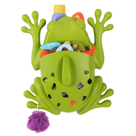 Frog Pod filled with toys, soaps and loofah