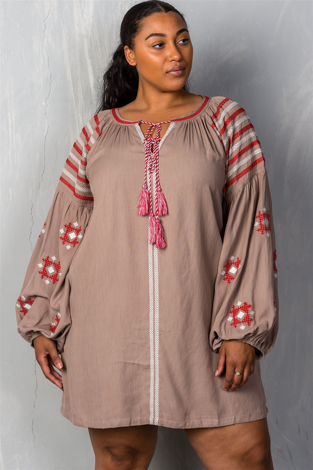 Ladies fashion plus size mocha tribal embroidered long sleeve blouse w/ tassel at collar