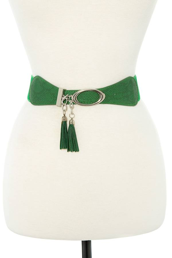 Faux leather tassel fashion stretch belt