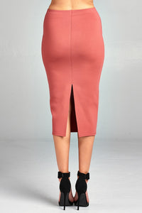 Ladies fashion ponte pencil midi skirt