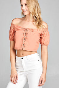 Ladies fashion short sleeve off the shoulder front eyelet w/string crop top