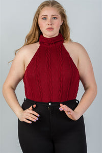 Ladies fashion plus size  cable knit turtleneck sleeveless bodysuit