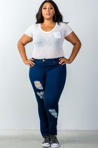 Ladies fashion plus size low rise dark blue distressed jeans