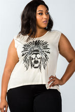 Ladies fashion plus size beige indian native skull front detail top