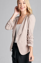 Ladies fashion 3/4 shirring sleeve open front woven jacket