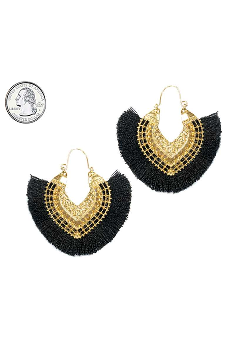 Fan tassel hoop earring