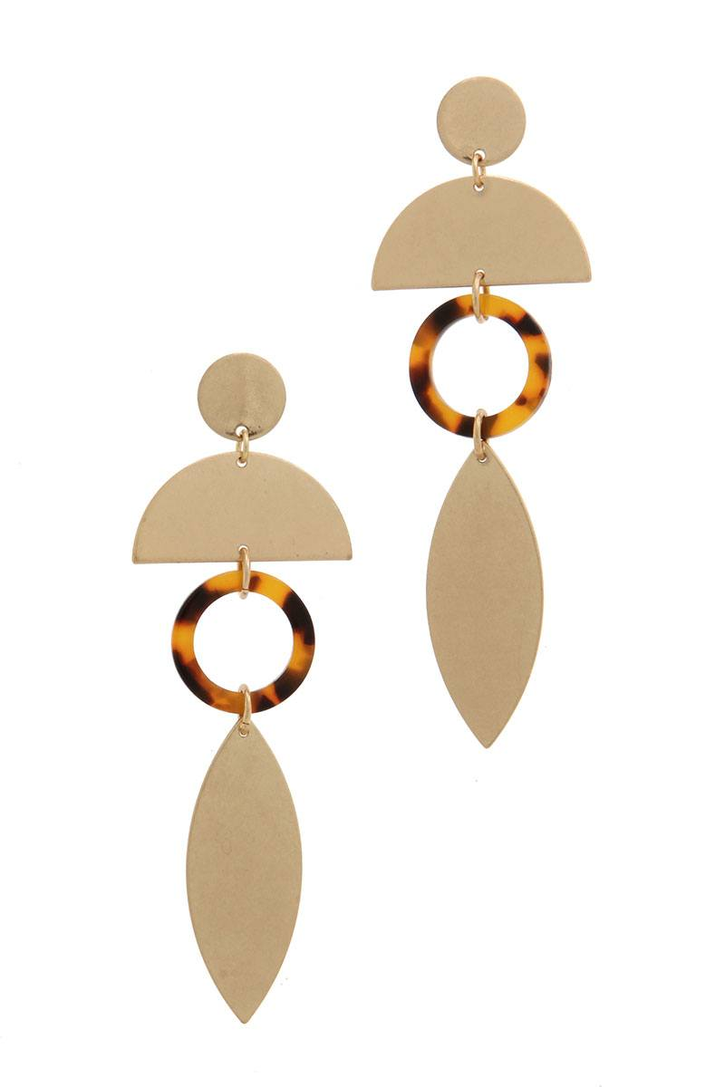 Geometric shape post drop earring