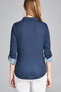 Ladies fashion plus size 3/4 roll up sleeve front pocket detail dot print stretch knit shirts