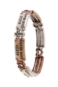 """bless your heart"" engraved stretch bracelet"