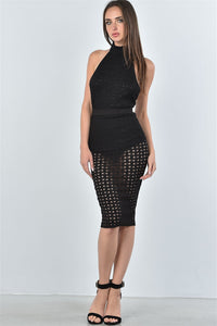 Ladies fashion mesh hole bodysuit and midi skirt two piece set