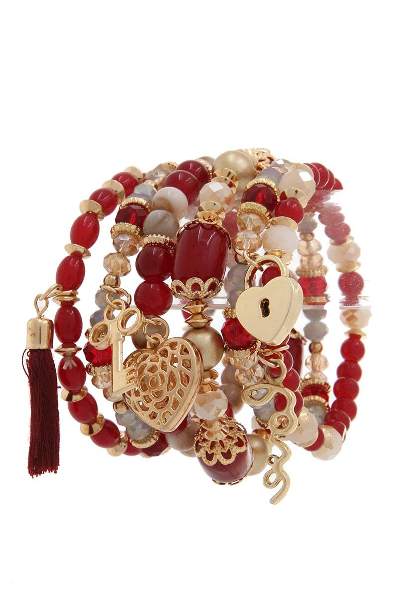 Heart lock charm beaded stretch bracelet