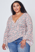 "Ladies fashion plus size floral print deep ""v"" front tie boho top"