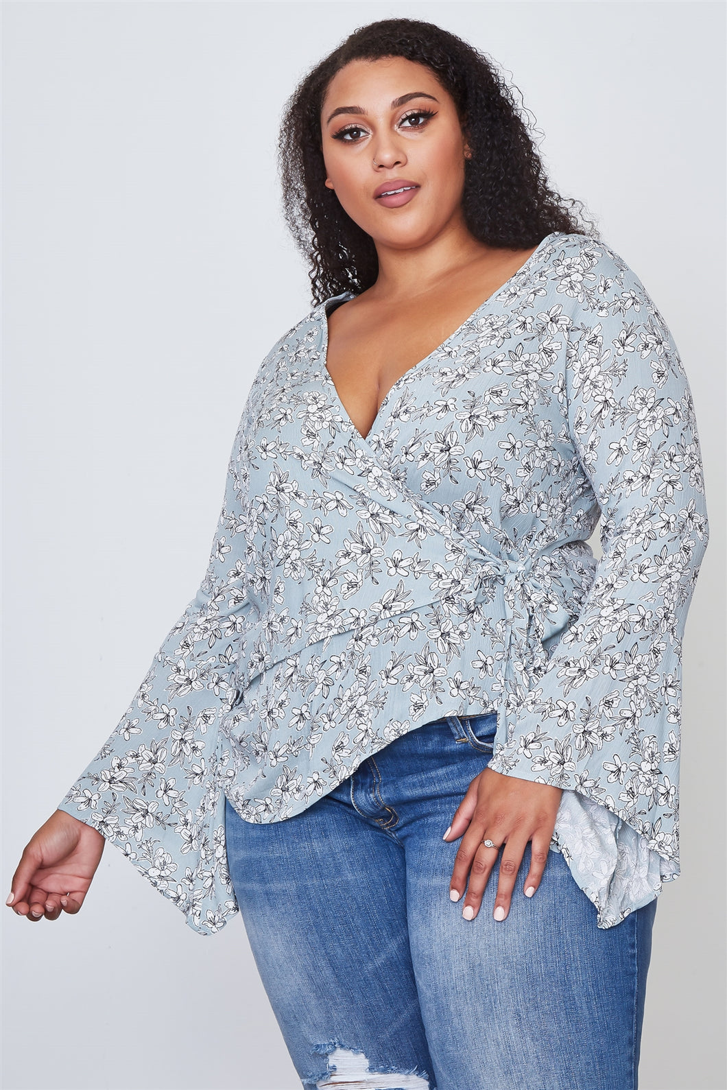 Ladies fashion plus size floral print deep