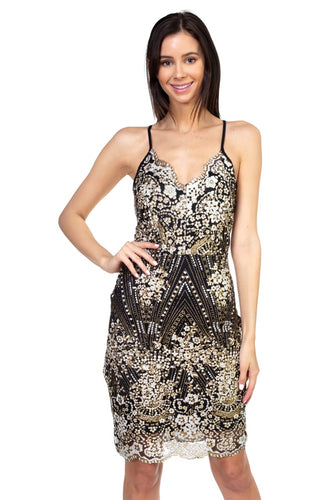 Sequin floral embroidered dress