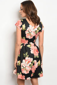 Ladies fashion short sleeve multi color floral print skater dress with a rounded  neckline