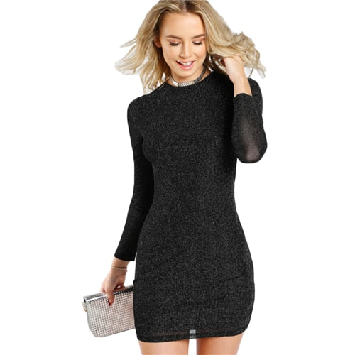 Exciting Apparel Glitter Form Fitting Tee Dress Black Women Dress Long Sleeve Sexy Bodycon Dress Autumn Elegant T-shirt Dress