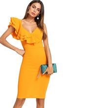 Exciting Apparel Sleeveless Ruffle Layered Flounce Trim Split Back V Neck Party Bodycon Dress Women Summer Knee Length Slim Pencil Dress