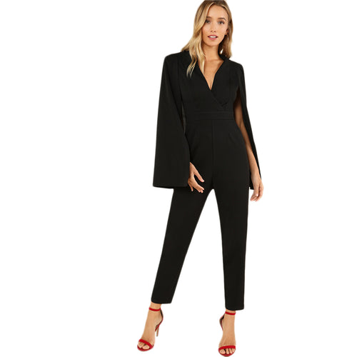 Exciting Apparel Black Party Elegant Wrap Plunging V Neck Cloak Long Sleeve Solid High Waist Maxi Jumpsuit Autumn Women Casual Jumpsuit