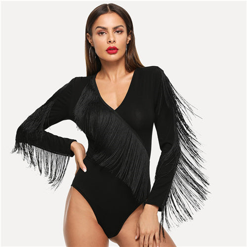 Exciting Apparel Black Elegant Weekend Casual Fringe Embellished Form Fitting Solid Skinny Bodysuit 2018 Summer Fashion Women Bodysuits