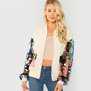 Exciting Apparel White Highstreet Elegant Contrast Sequin Sleeve Pocket Front Zipper Up Jacket Autumn Casual Fashion Women Coat Outerwear