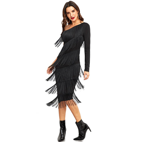 Exciting Apparel Black Party Going Out One Shoulder Layered Fringe Embellished Dress