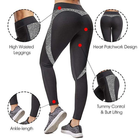 PU Leather Patchwork Skinny Long Pants Women Push Up Workout Sporting Leggings