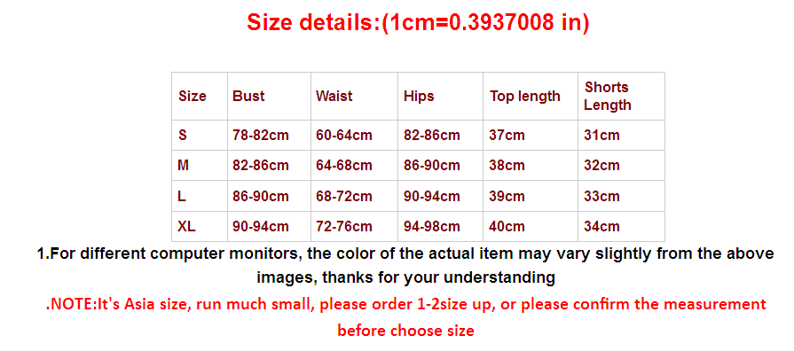 2019 New Style Fashion Hot Women Sexy Patchwork Yoga Short Sets size chart