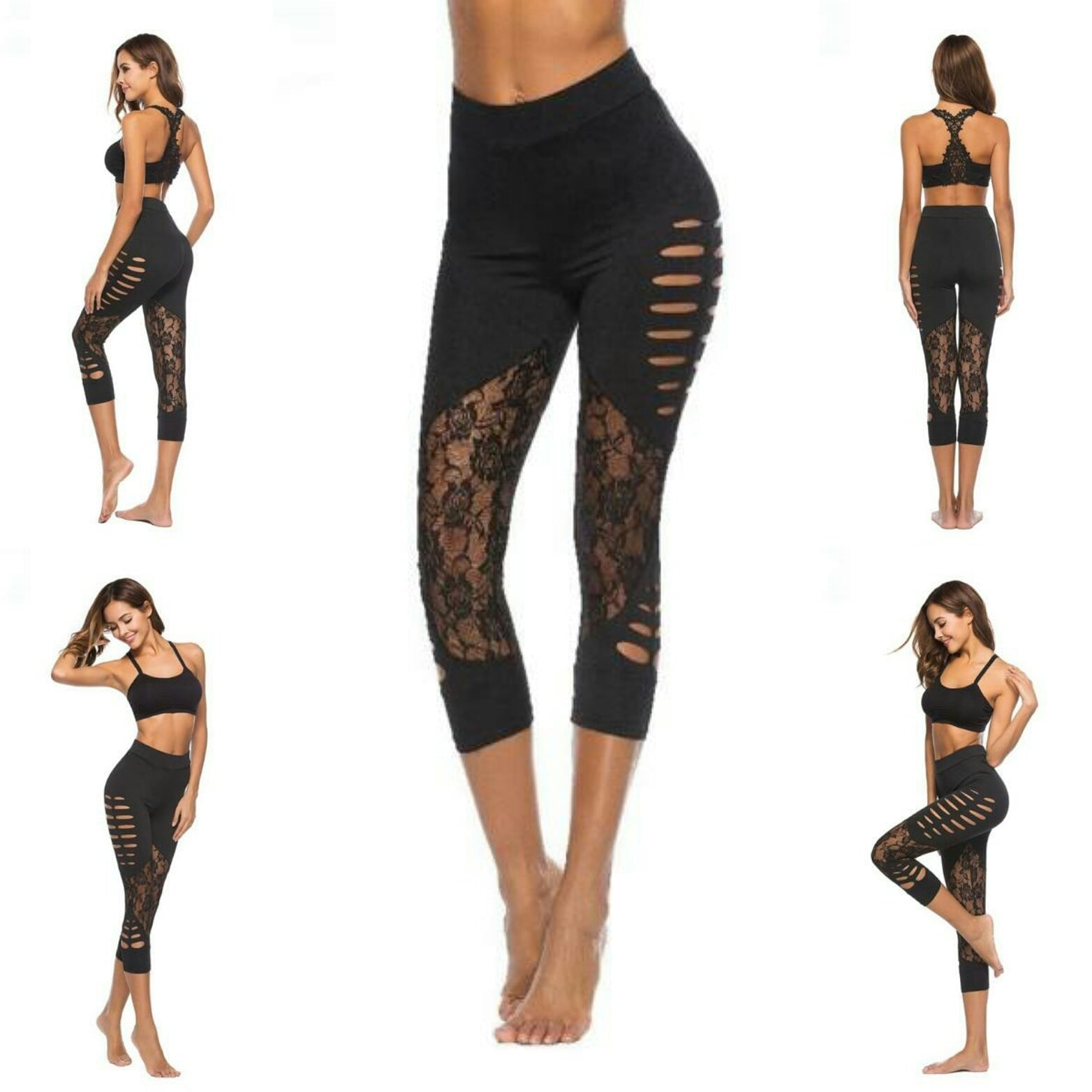 Woman's Sexy Hollow Lace Stitching Leggings