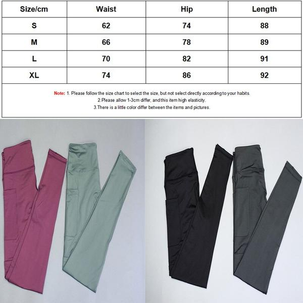 Women  Solid High Waist Push Up Energy Seamless Sport Tight Leggings size chart