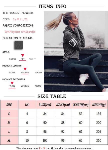 Fitness Breathable Quick-Dry Jackets size chart
