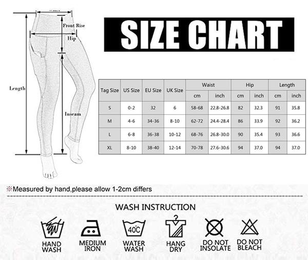 Patchwork Stretchy Fitness Leggings size chart