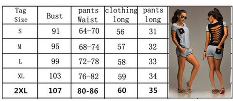 back hollow short-sleeved casual top women suit Short-sleeved blouse + shorts