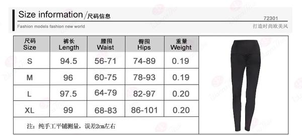 Female Slim Ruched Polyester High Waist Jeggings size chart