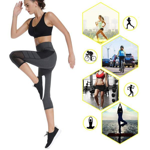 High Waist Mesh Panel Capri Fitness Leggings for Women
