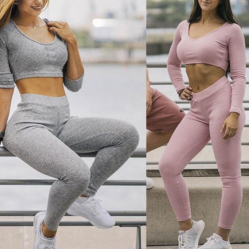 1 Set Women Breathable Slim Tops with Pants