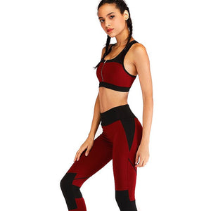 Wine red women's breathable pants+ front bra zipper yoga set