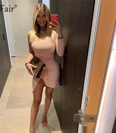 One Shoulder Ruched Backless Side Slit Party  Bodycon Dress