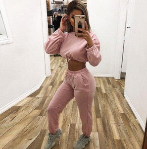Long Sleeve Sweatshirt + Loose Harem Pants Women's Joggers Suit