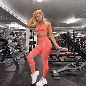 Seamless  Leggings High waist Scrunch Booty Workout Set
