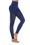 Women's Stretchy Seamless Side Hollow High Waist Leggings-blue