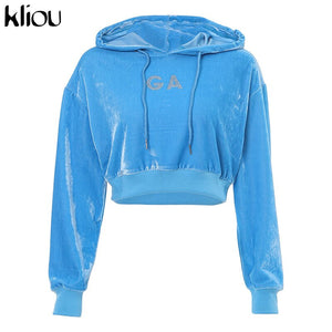Hoodies Blue Crop Top Sweatshirt  for Women