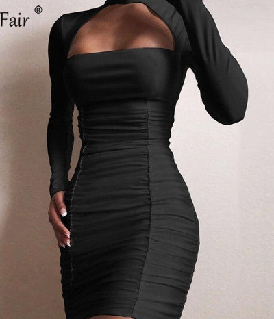 Long Sleeve Ruched Halter Bodycon Dress