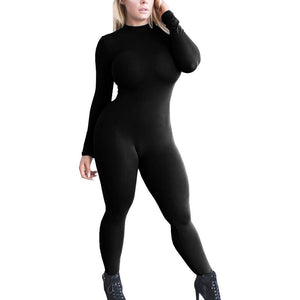 Women Stretchy Long Sleeve  Workout Jumpsuit