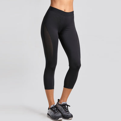 Women's Slimming Mesh Cropped Tights Capri Leggings