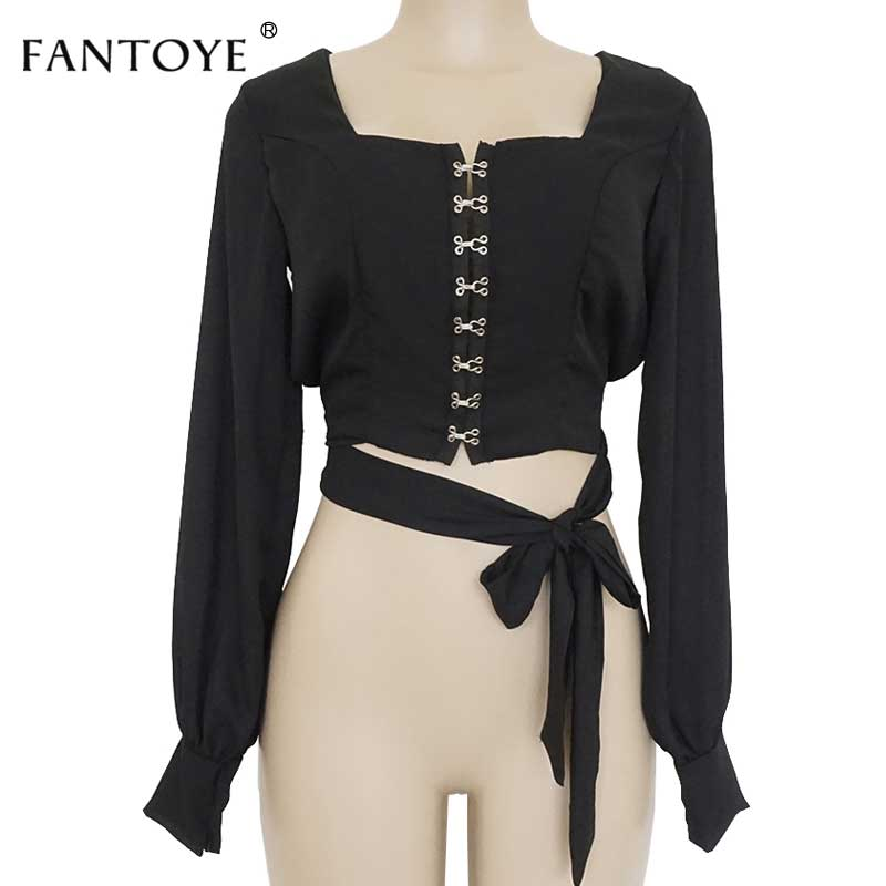 Fantoye Sexy Open Back Chiffon Women Top And Blouse Shirts Casual Square Collar Lantern Sleeve Backless Bandage White Crop Top