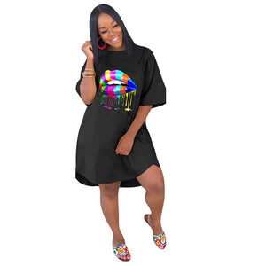 Plus Size Lips Print Loose Short Sleeve Dress