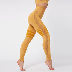 Breathable Fitness Seamless Tops + Yoga Pants Yellow Set