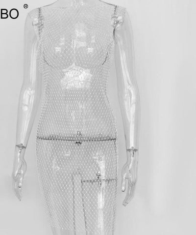 Sparkling Diamond Fishnet Sexy Summer Hollow Out Split Transparent Bodycon Dress