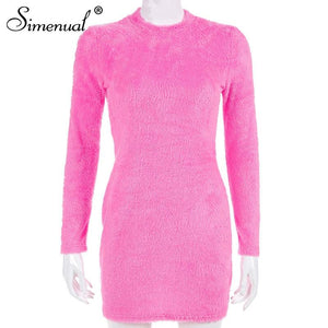 Simenual Sexy Hairy Bodycon Dress Women Autumn 2019 Fashion Dresses Party Long Sleeve Clubwear Furry Solid Basic Mini Dress Slim